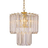 Tiered 5 Light 14 inch Polished Brass Chandelier Ceiling Light in Clear Beveled Acrylic tapers
