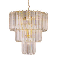 Tiered 9 Light 20 inch Polished Brass Chandelier Ceiling Light in Clear Beveled Acrylic tapers