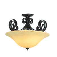 Trans Globe Black Ribbon 3 Light Semi-Flush Mount in Dark Bronze 9913-DBZ