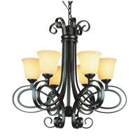 Trans Globe Black Ribbon 6 Light Chandelier in Dark Bronze 9916-DBZ