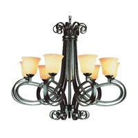 Trans Globe Black Ribbon 9 Light Chandelier in Dark Bronze 9919-DBZ