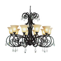Vintage Scroll 10 Light 50 inch Dark Bronze Chandelier Ceiling Light
