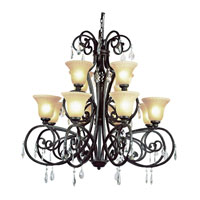 Vintage Scroll 12 Light 46 inch Dark Bronze Chandelier Ceiling Light