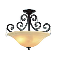 Vintage Scroll 2 Light 20 inch Dark Bronze Semi-Flush Mount Ceiling Light