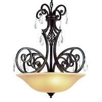 Vintage Scroll 3 Light 29 inch Dark Bronze Pendant Ceiling Light