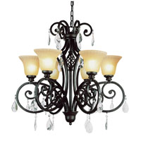 Vintage Scroll 6 Light 30 inch Dark Bronze Chandelier Ceiling Light