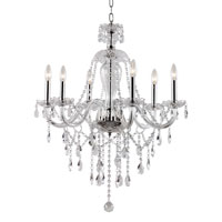 Crystal Fountain 6 Light 26 inch Polished Chrome Chandelier Ceiling Light