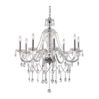 Crystal Fountain 8 Light 32 inch Polished Chrome Chandelier Ceiling Light