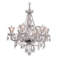 Trans Globe Lighting Traditional Crystal 6 Light Chandelier in Polished Chrome HX-6 photo thumbnail