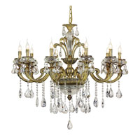 Trans Globe Crystal Traditions 10 Light Chandelier in Antique Brass JD-10-AB