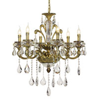 Trans Globe Crystal Traditions 6 Light Chandelier in Antique Brass JD-6-AB