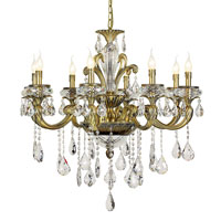 Trans Globe Crystal Traditions 8 Light Chandelier in Antique Brass JD-8-AB