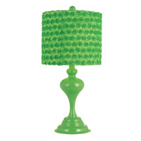 Colored Rose Bud 23 inch 100 watt Green Table Lamp Portable Light in Green Fabric Drum