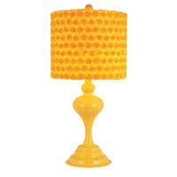 Colored Rose Bud 23 inch 100 watt Yellow Table Lamp Portable Light in Yellow Fabric Drum - Rose Buds