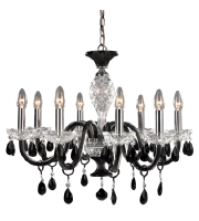 Trans Globe Lighting Versailles 8 Light Chandelier in Black and Clear Crystal LIBERTY-8 photo thumbnail