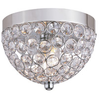 Contemporary Crystal 2 Light 9 inch Chrome Semi-Flush Mount Ceiling Light