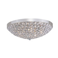 Contemporary Crystal 5 Light 16 inch Chrome Flush Mount Ceiling Light