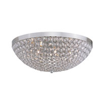 Contemporary Crystal 7 Light 20 inch Chrome Flush Mount Ceiling Light