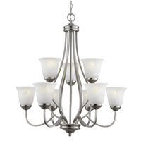 Trans Globe Lighting Energy Efficient 9 Light Chandelier in Brushed Nickel PL-10009-BN