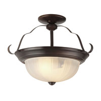 Trans Globe Melon 2 Light Semi-Flush Mount in Rubbed Oil Bronze PL-13213-ROB