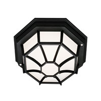 Trans Globe Lighting Energy Efficient 1 Light Outdoor Flush Mount in Black PL-40582-BK