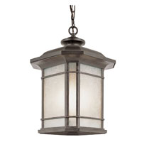 Trans Globe Corner Window 1 Light Outdoor Hanging Lantern in Rust PL-5825-RT