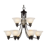 Trans Globe Payson 9 Light Chandelier in Weathered Bronze PL-6549-WB