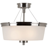 Fusion 2 Light 14 inch Brushed Nickel Semi-Flush Mount Ceiling Light