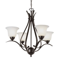 Ribbon Branched 4 Light 22 inch Rubbed Oil Bronze Chandelier Ceiling Light