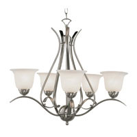 Ribbon Branched 5 Light 24 inch Brushed Nickel Chandelier Ceiling Light
