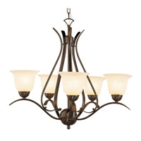 Ribbon Branched 5 Light 24 inch Rubbed Oil Bronze Chandelier Ceiling Light