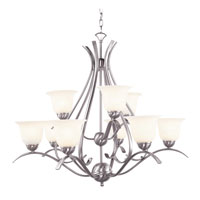 Trans Globe Ribbon Branched 9 Light Chandelier in Brushed Nickel PL-9289-BN