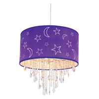 Trans Globe Moon and Stars 1 Light Pendant in Lilac PND-1001-LILAC