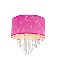 Trans Globe Moon and Stars 1 Light Pendant in Pink PND-1001-PK