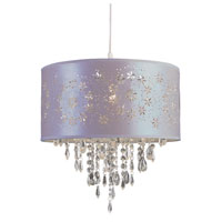 Trans Globe Lighting PND-607-LILAC Desert Rose 1 Light 15 inch White Pendant Ceiling Light in Lilac Fabric
