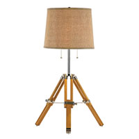 Trans Globe Retro Lamps 2 Light Table Lamp in Wood and Polished Chrome RTL-8785