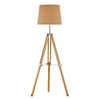 Trans Globe Retro Lamps 2 Light Floor Lamp in Wood and Polished Chrome RTL-8786