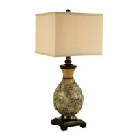 Garden Vine 31 inch 150 watt White Wash Patina and Bronze Table Lamp Portable Light