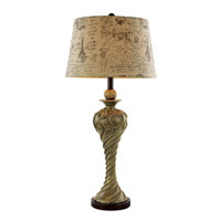 European Cities 34 inch 150 watt White Wash Patina and Swirl Table Lamp Portable Light