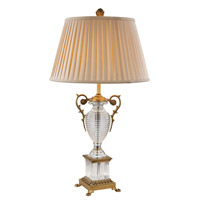 Dynasty 34 inch 60 watt Antique Brass Table Lamp Portable Light