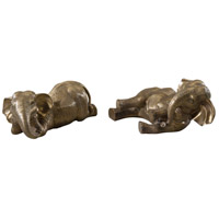 Theodore Alexander Elephants Under The African Sun pair of Table Top Accessories in Brass 1023-126