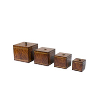 Theodore Alexander Barber Stack set of 4 Boxes in Mahogany and Brass 1105-265