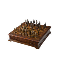 Theodore Alexander An English Competitor Chess Board Box with Chess Set in Mahogany and Brass 1105-273