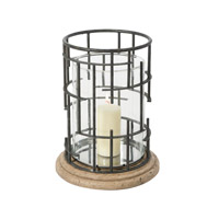 Theodore Alexander Geometricity Hurricane Candle Lamp in Stainless Steel 1312-010