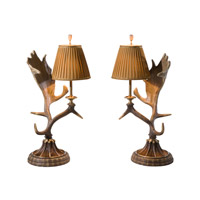 Theodore Alexander Stagworks Inverness pair of Table Lamps in Light Brown with Beige Linen Pleated Shade 2002-315