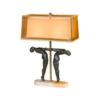 Theodore Alexander Vanucci Eclectics Art Deco Athletes Table Lamp in Bronze with Bronze Organza And Ivory Silk Double Shade 2021-626
