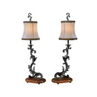 Theodore Alexander Castle Bromwich Inspired by Notre Dame pair of Table Lamps in Black with Cream Dupioni Silk Shade 2021-668