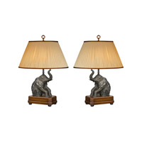 Theodore Alexander Exuberant Elephants pair of Table Lamps in Medium Brown with Beige Linen Pleated Shade 2021-722