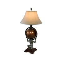 Essential 38 inch 75 watt Verdigris Brass Table Lamp Portable Light