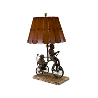 Theodore Alexander Monkey Tricks Table Lamp in Bronze with Wood And Leather Shade 2021-773